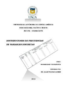 DISTRIBUCIONES DE FRECUENCIAS DE VARIABLES DISCRETAS