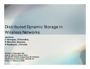 Distributed Dynamic Storage in Wireless Networks