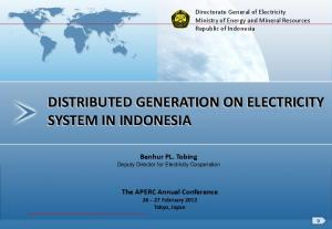 DISTRIBUTED GENERATION ON ELECTRICITY SYSTEM IN INDONESIA