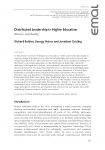 Distributed Leadership in Higher Education