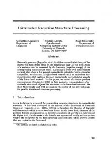 Distributed Recursive Structure Processing