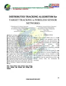 DISTRIBUTED TRACKING ALGORITHM for TARGET TRACKING in WIRELESS SENSOR NETWORKS