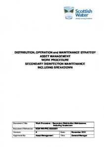 DISTRIBUTION, OPERATION and MAINTENANCE STRATEGY ASSET MANAGEMENT WORK PROCEDURE SECONDARY DISINFECTION MAINTENANCE INCLUDING BREAKDOWN