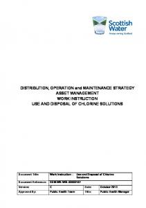 DISTRIBUTION, OPERATION and MAINTENANCE STRATEGY ASSET MANAGEMENT WORK INSTRUCTION USE AND DISPOSAL OF CHLORINE SOLUTIONS