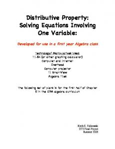 Distributive Property: Solving Equations Involving One Variable: