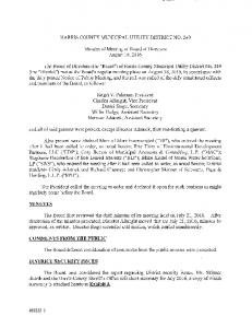 DISTRICT SECURITY ISSUES COMMENTS FROM THE PIJBLIC MINUTES HARRIS COUNTY MUNICIPAL UTILITY DISTRICT NO. 249