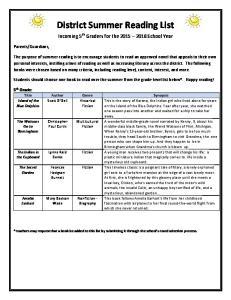 District Summer Reading List