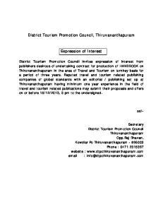 District Tourism Promotion Council, Thiruvananthapuram. Expression of Interest