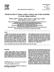 Diurnal excretion of urinary cortisol, cortisone, and cortisol metabolites in chronic fatigue syndrome