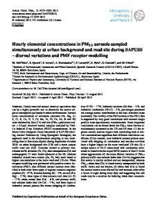diurnal variations and PMF receptor modelling