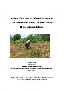Diverse Education for Diverse Economies: The relevance of Rural Training Centres in the Solomon Islands