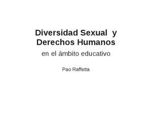 Diversidad Sexual y Derechos Humanos