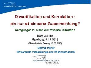 Diversifikation und Korrelation - ein nur scheinbarer Zusammenhang?