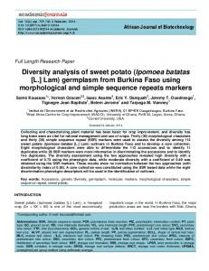 Diversity analysis of sweet potato (Ipomoea batatas [L.] Lam) germplasm from Burkina Faso using morphological and simple sequence repeats markers