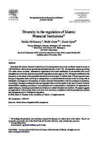 Diversity in the regulation of Islamic Financial Institutions