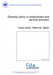 Diversity policy in employment and service provision