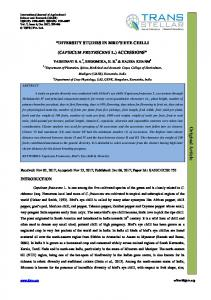 DIVERSITY STUDIES IN BIRD S EYE CHILLI (CAPSICUM FRUTESCENS L.) ACCESSIONS. Mudigere (UAHS), Karnataka, India