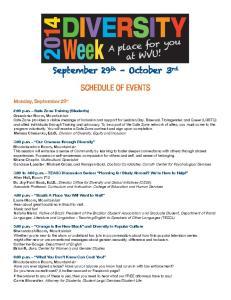 DIVERSITY Week SCHEDULE OF EVENTS