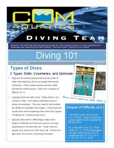 Diving 101. Types of Dives. 3 Types: Skills, Voluntaries, and Optionals. Degree of Difficulty (d.d.) Diving 101