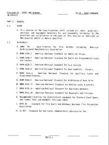 DIVISION 08 - DOORS AND WINDOWS PN DOOR HARDWARE PART 1 GENERAL 1.1 SCOPE