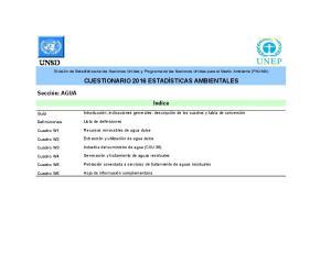 División de Estadística de las Naciones Unidas y Programa de las Naciones Unidas para el Medio Ambiente (PNUMA)