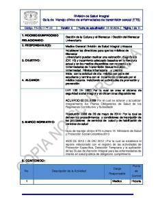 División de Salud Integral Guía de Manejo clínico de enfermedades de transmisión sexual (ETS)