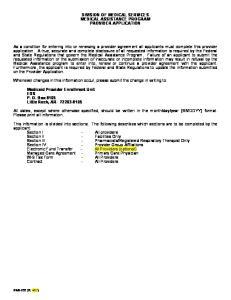 DIVISION OF MEDICAL SERVICES MEDICAL ASSISTANCE PROGRAM PROVIDER APPLICATION