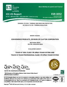 DIVISION: THERMAL AND MOISTURE PROTECTION SECTION: THERMAL INSULATION REPORT HOLDER: