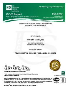 DIVISION: WOOD, PLASTICS AND COMPOSITES SECTION: WOOD I JOISTS REPORT HOLDER: ANTHONY EACOM, INC