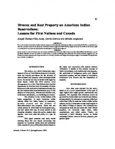 Divorce and Real Property on American Indian Reservations: Lessons for First Nations and Canada