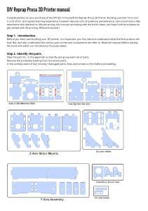 DIY Reprap Prusa 3D Printer manual