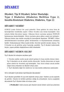 Diyabet; Tip II Diyabet; Şeker Hastalığı; Type 2 Diabetes (Diabetes Mellitus Type 2; Insulin-Resistant Diabetes; Diabetes, Type 2)