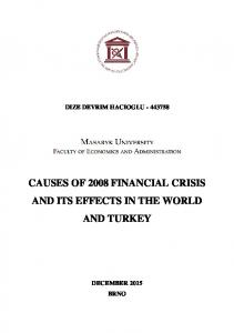 DIZE DEVRIM HACIOGLU CAUSES OF 2008 FINANCIAL CRISIS AND ITS EFFECTS IN THE WORLD AND TURKEY DECEMBER 2015 BRNO