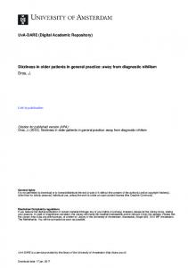 Dizziness in older patients in general practice: away from diagnostic nihilism Dros, J
