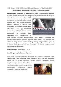 DKF Marzec XV Festiwal Klasyki Filmowej Film Classic 2012 Michelangelo Antonioni ( ) w stulecie urodzin