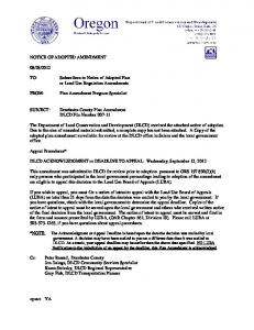 DLCD ACKNOWLEDGMENT or DEADLINE TO APPEAL: Wednesday, September 12, 2012