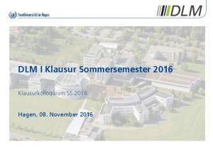 DLM I Klausur Sommersemester 2016