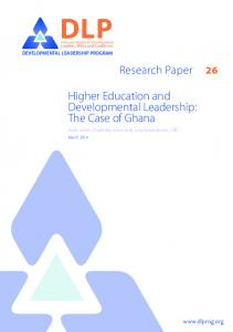 DLP. Higher Education and Developmental Leadership: The Case of Ghana. Research Paper