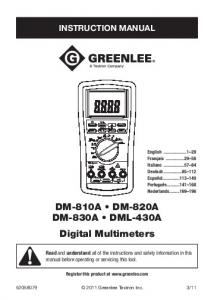 DM-810A DM-820A DM-830A DML-430A Digital Multimeters