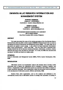 DMMMSU-MLUC RESEARCH INFORMATION AND MANAGEMENT SYSTEM