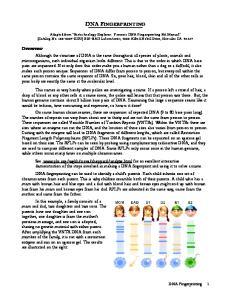 DNA FINGERPRINTING. DNA Fingerprinting 1