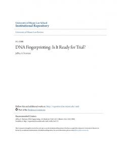 DNA Fingerprinting: Is It Ready for Trial?