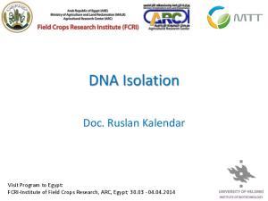 DNA Isolation. Doc. Ruslan Kalendar