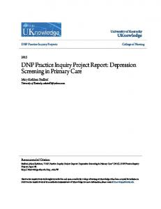 DNP Practice Inquiry Project Report: Depression Screening in Primary Care