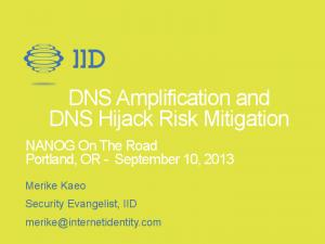 DNS Amplification and DNS Hijack Risk Mitigation