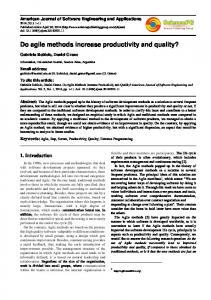 Do agile methods increase productivity and quality?