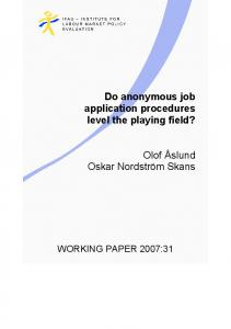 Do anonymous job application procedures level the playing field?