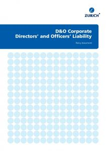 D&O Corporate Directors and Officers Liability. Policy document
