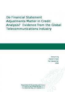Do Financial Statement Adjustments Matter in Credit Analysis? Evidence from the Global Telecommunications Industry