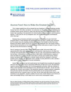 DO NOT COPY. Acumen Fund: How to Make the Greatest Impact. case December 2007